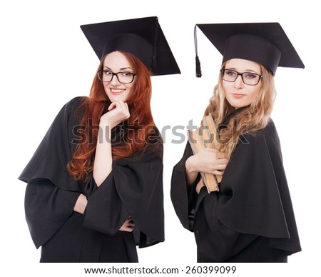 Portrait of pair happy graduate young girls in glasses with books. - stock photo