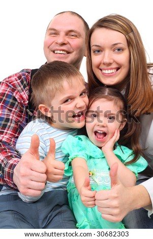 Portrait of parents and two children show gesture ok