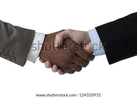 Portrait of partnership business shake hands - stock photo