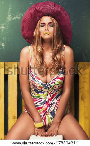 portrait of passion girl in a hat, summer style - stock photo