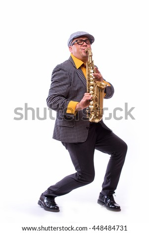 Portrait of Passionate Expressive Male Alto Saxophone Player