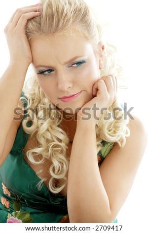 portrait of pensive girl over white background - stock photo