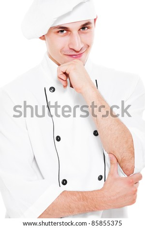 portrait of pensive smiley cook over white background