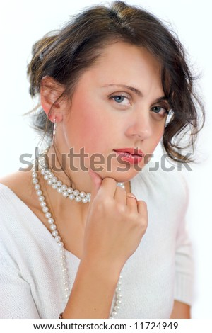 Portrait of pensive upset woman isolated on white