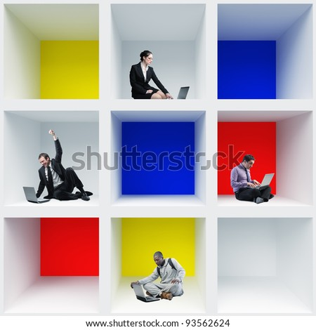 portrait of people at work in colorful box - stock photo