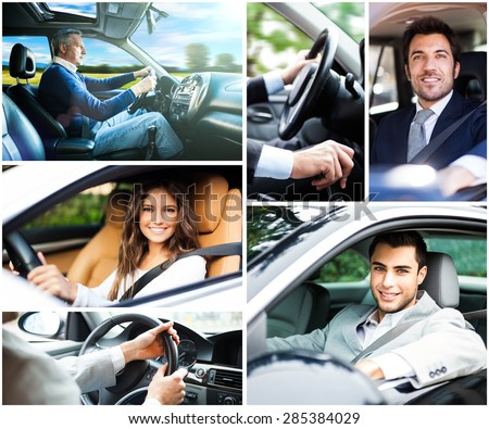 Portrait of people driving their cars - stock photo