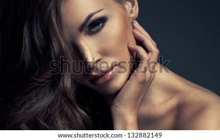 Portrait of perfect Makeup. Beautiful sexy woman with long Hair - stock photo