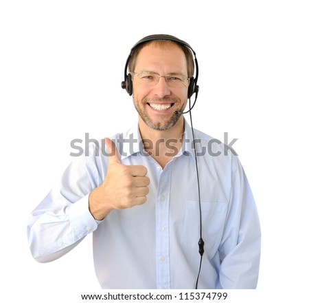 Portrait of phone operator showing thumb up isolated on white ba - stock photo