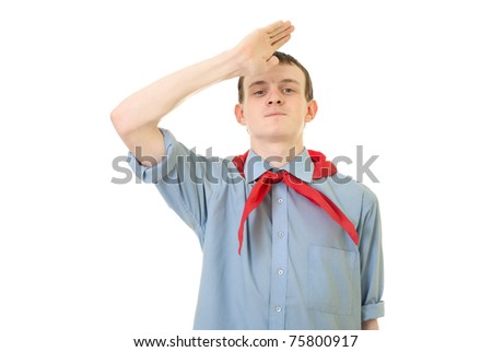Portrait of pioneer from USSR on white background - stock photo