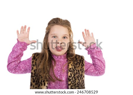 Portrait of playful girl jokingly stuck out her tongue over white background - stock photo