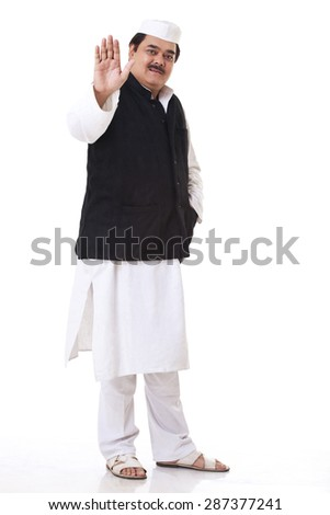 Portrait of politician gesturing - stock photo