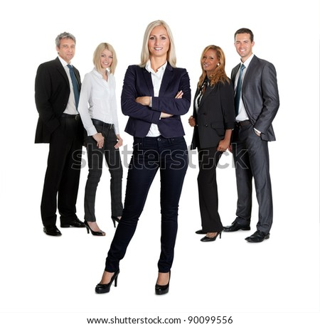 Portrait of positive female leader with her colleagues on white background - stock photo