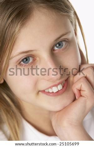 Portrait Of Pre-Teen Girl Smiling - stock photo