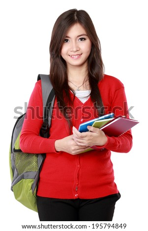 Portrait of Pretty asian female student portrait isolated over white background - stock photo