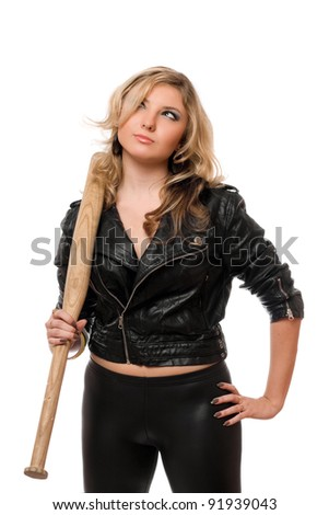 Portrait of pretty blonde with a bat in their hands - stock photo