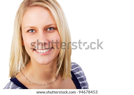 Portrait of pretty blonde woman cheerful looking. Studio shot against a white background. - stock photo