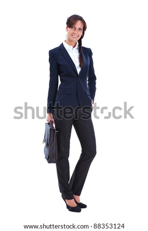 Portrait of pretty businesswoman with briefcase looking at camera in isolation