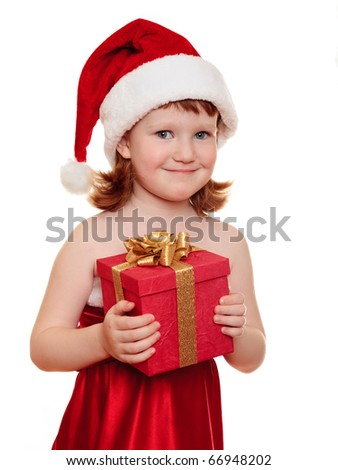 Portrait of pretty christmas girl in white dress and santa hat, smiling isolated on white background - stock photo