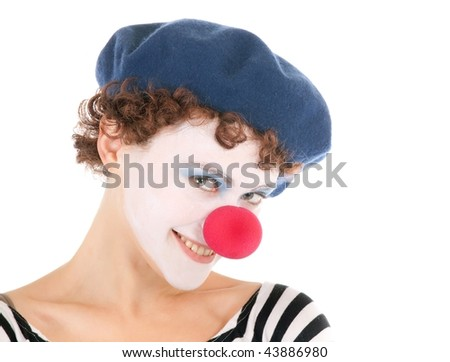 portrait of pretty clown woman  smiling at the camera - stock photo