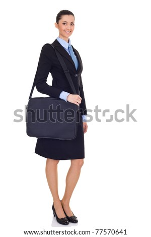 portrait of pretty female with briefcase, isolated on white