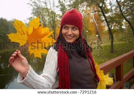 portrait of pretty girl and leaf