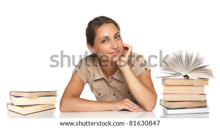 Portrait of pretty girl with books on a white background - stock photo