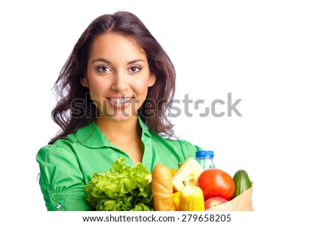 Portrait of pretty girl with different products - stock photo
