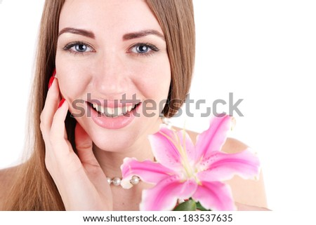 Portrait of pretty girl  with flower isolated on white