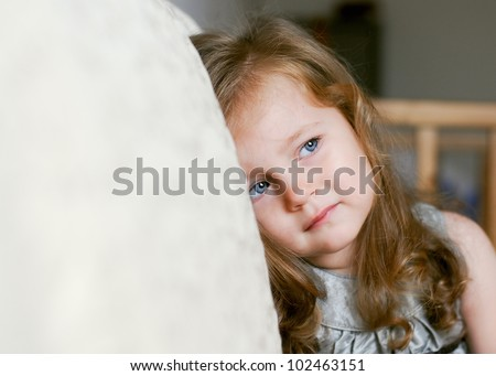 Portrait of pretty little girl crying