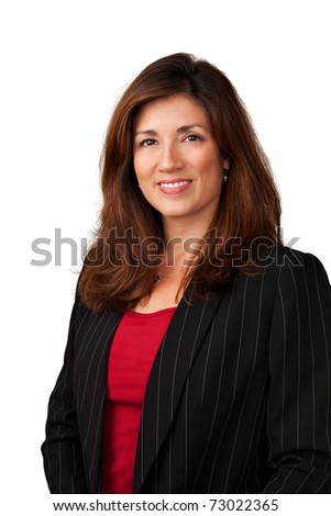 Portrait of pretty mature businesswoman wearing black jacket.  Isolated on white background. - stock photo