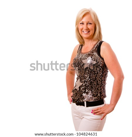 Portrait of pretty middle-aged woman in her 40s dressed for party or night out on the town - stock photo