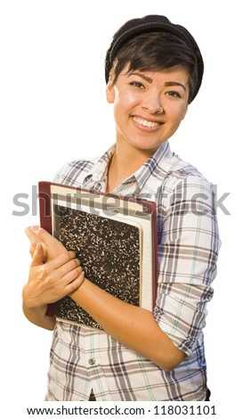 Portrait of Pretty Mixed Race Female Student Holding Books Isolated on a White Background.