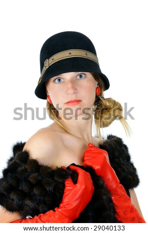 portrait of pretty posing girl in hat and red gloves, isolated on white - stock photo