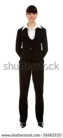portrait of pretty slavonic girl in black suit
