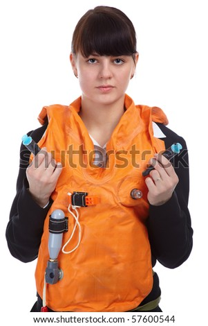 portrait of pretty slavonic girl in stewardess uniform showing safety instructions in life-jacket