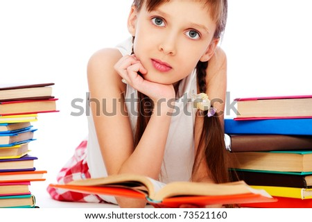 portrait of pretty smiley girl with books. isolated on white background - stock photo