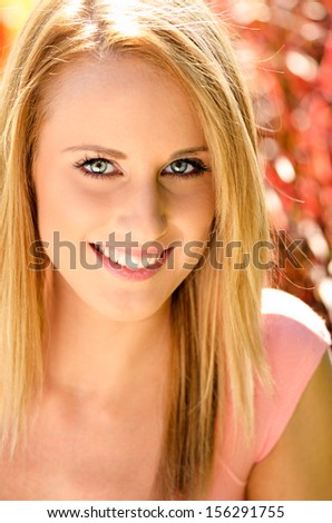Portrait of pretty smiling woman  - stock photo