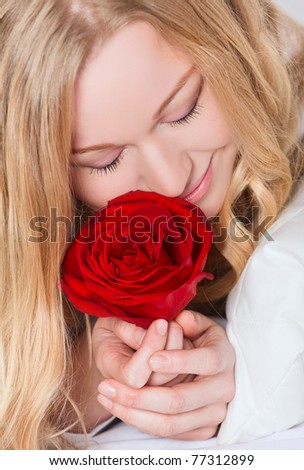 Portrait Pretty Smiling Woman Red Rose Stock Photo Royalty Free
