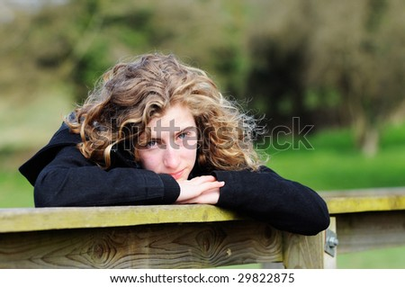 portrait of pretty teenage girl - stock photo