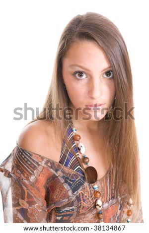 portrait of  pretty teenager over white background