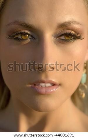 portrait of pretty white women - stock photo