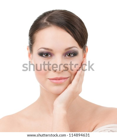 Portrait of pretty woman with makeup, isolated on white - stock photo
