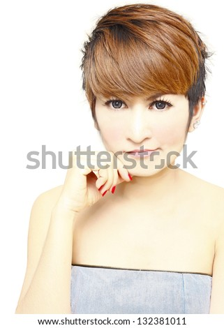 Portrait of  Pretty women short hair thinking and touching her chin on white background