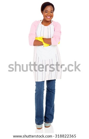 portrait of pretty young african woman wearing apron - stock photo