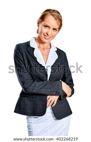 Portrait of pretty young business woman. Isolated on white background  - stock photo