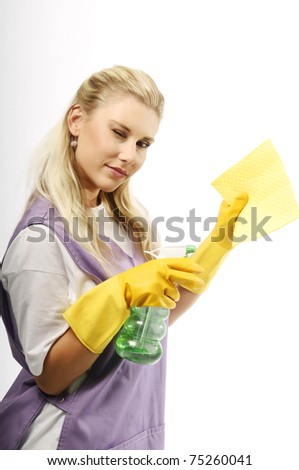 Portrait of pretty young cleaning girl