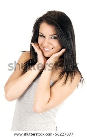 Portrait of pretty young girl smiling - stock photo