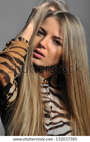 Portrait of pretty young woman - stock photo