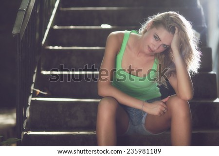portrait of pretty young woman. - stock photo