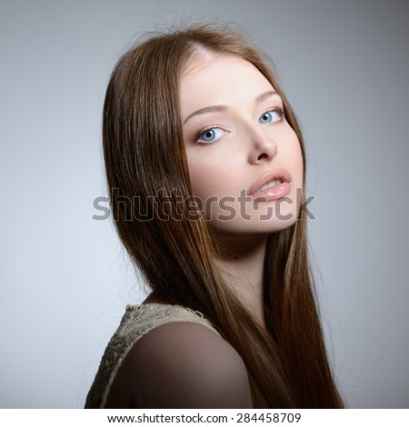 Portrait of pretty young woman, closeup. Natural beauty. - stock photo